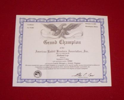 ARBA Grand Champion Rabbit Official Certificate